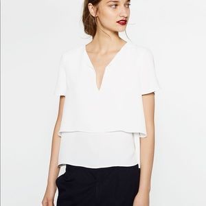 Zara Tops - NWT Zara White Layered Flowing Blouse Top